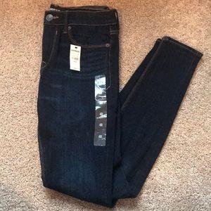 Express dark wash, mid rise, legging jeans